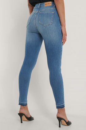 Skinny High Waist Open Hem Jeans