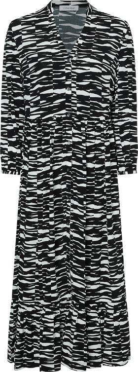 3/4 SLV BUTTON V-NK MAXI DRESS