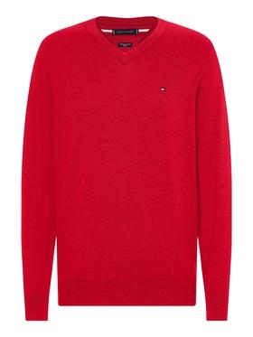 V-Ausschnitt-Pullover aus Baumwoll-Seidenmix