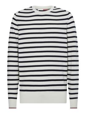 Bio-Baumwoll-Pullover mit Breton-Streifen