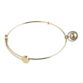"Armreif ""Stahl gold / pearl"""