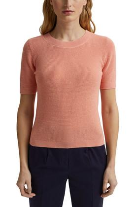 Mit Leinen: Kurzarm-Pullover mit Struktur