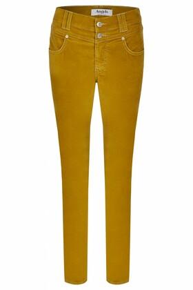 "Jeans ""Skinny Button"" mit samtigem Stoff"