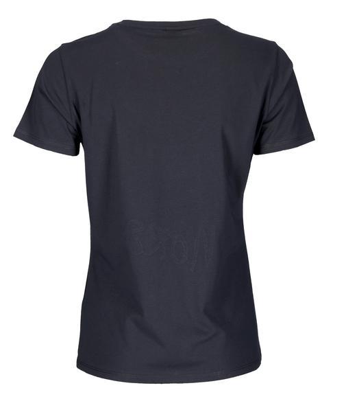 T-Shirt aus Baumwoll-Jersey mit aufgedrucktem Slogan und Pailletten