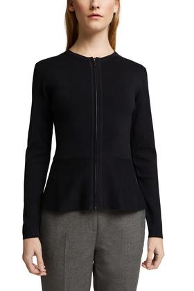 Taillierter Zipp-Cardigan mit Schößchen