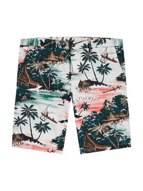 Baumwoll-Shorts mit Hawaii-Print