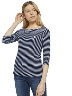 T-shirt stripe boat neck