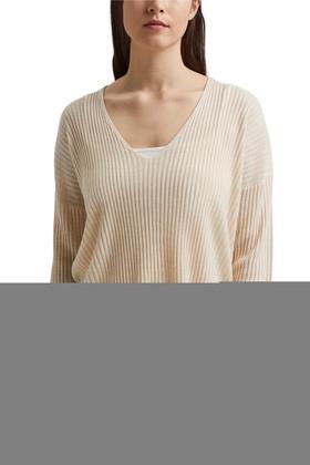 Aus TENCEL™/Wolle: gerippter V-Neck-Pullover