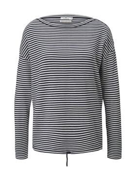striped pullover with string