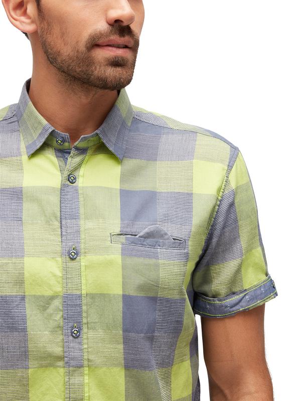 ray summer block check shirt S-white