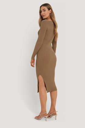 Geripptes Midi Kleid