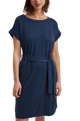 Fließendes Jerseykleid mit Bindegürtel