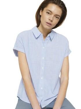 Kurzarm Hemdbluse mit Streifen