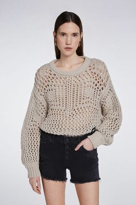 Grobmaschiger Pullover
