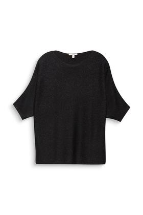 Ripp-Pullover mit Glitzerfäden