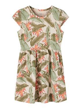 Kleid mit Blätter-Print