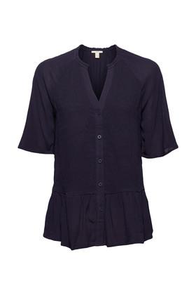 Peplum-Bluse mit Smok, LENZING™ ECOVERO™