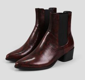Lara Wine Embossed Leather Boots
