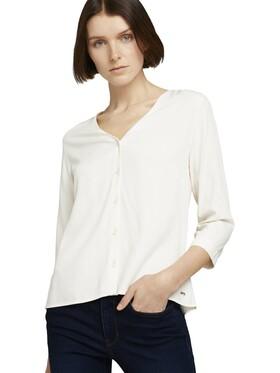 Geknöpfte Bluse mit V-Ausschnitt