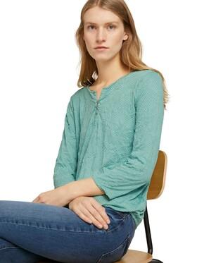 Gemustertes T-Shirt mit elatsischem Saum