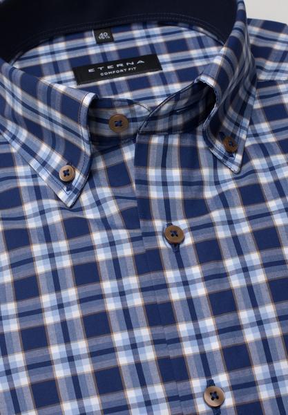 Langarm Hemd Comfort Fit Popeline Blau/Rot Kariert