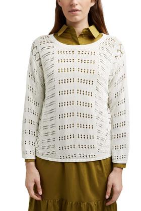 Ajour-Pullover aus Baumwoll-Mix