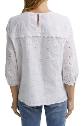 Bluse mit Lochstickerei, 100% Bio-Baumwolle