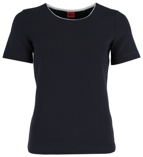 T-Shirt aus Stretch-Jersey mit U-Ausschnitt und Metallbesatz