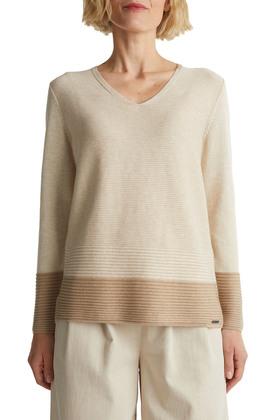 Color-Block-Pullover mit V-Neck