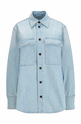 Relaxed-Fit Overshirt aus hellblauem Stretch-Denim