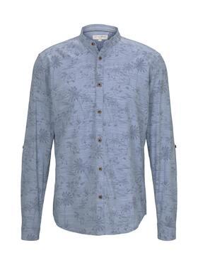 blue shade printed slub shirt
