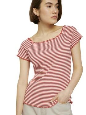 Schulterfreies Carmen T-Shirt mit Streifen