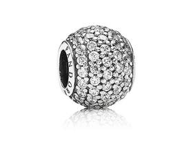 Abstract pave silver charm with cubic -