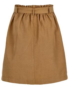 Skirt, paperbag style, belt detail,