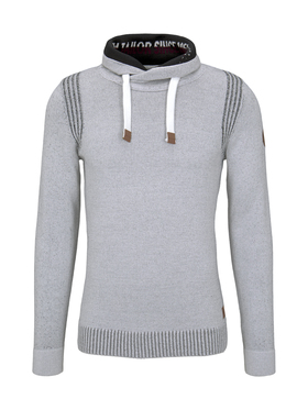 plated snood sweater