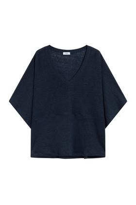 V-Shirt aus Leinen