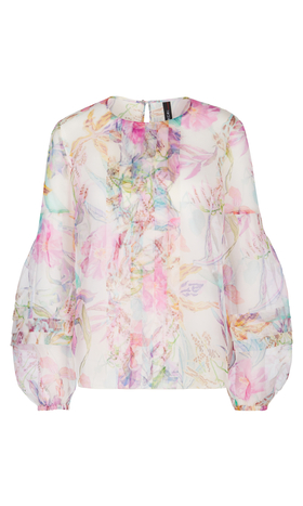 Florale Bluse aus Seiden-Organza