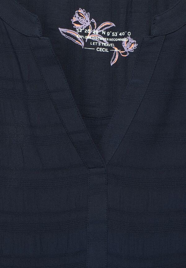 Uni Bluse mit Crêpe-Streifen