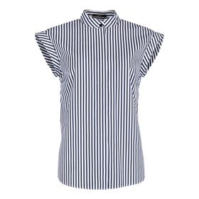 Popeline-Bluse mit Stehkragen