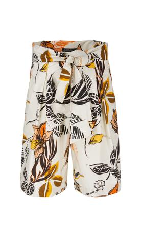 Florale Shorts mit Bundfalten