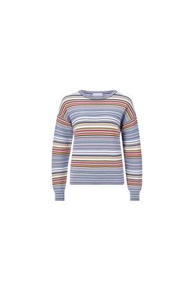 Crew neck multi color stripe