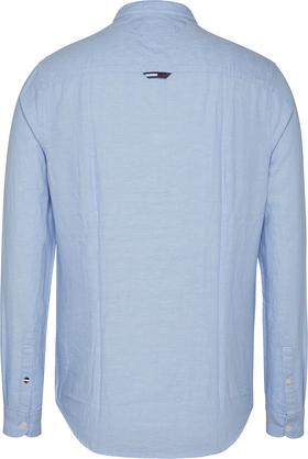 Baumwoll-Leinen-Hemd mit Mandarinkragen