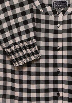 Karo-Bluse mit Smok-Detail