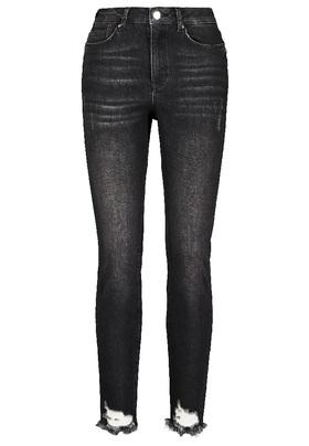 Dunkle Jeans mit unregelmäßig geschnittenem Saum