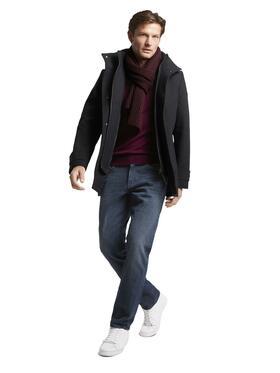 wool coat with rib collar